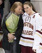 Ellen Kickham, Erin Kickham (BC - 3) -  The Boston College Eagles defeated the visiting Boston University Terriers 5-0 on BC's senior night on Thursday, February 19, 2015, at Kelley Rink in Conte Forum in Chestnut Hill, Massachusetts.