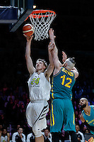 July 14, 2016: JOSH HAWKINSON (24) of the Washington State Cougars goes to the basket during game 2 of the Australian Boomers Farewell Series between the Australian Boomers and the American PAC-12 All-Stars at Hisense Arena in Melbourne, Australia. Sydney Low/AsteriskImages.com