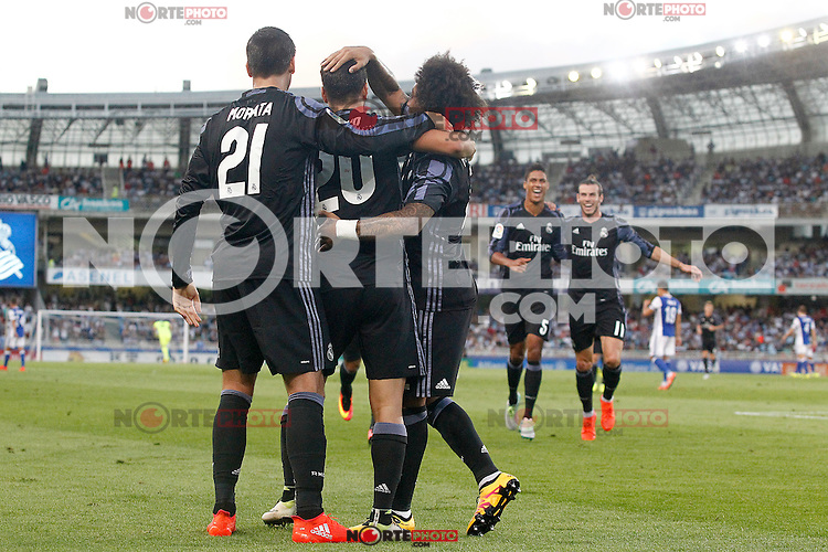 Real Madrid's Alvaro Morata, Marco Asensio, Marcelo Vieira, Raphael Varane and Garet Bale celebrate goal during La Liga match. August 21,2016. (ALTERPHOTOS/Acero) /NORTEPHOTO