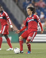 Chicago Fire substitute midfielder Rafael Robayo (88) passes the ball. In a Major League Soccer (MLS) match, the New England Revolution defeated Chicago Fire, 2-0, at Gillette Stadium on June 2, 2012.