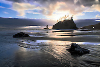 Sunset with stream at Second Beach. Olympic National Park, Washington
