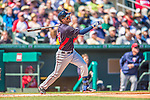 4 March 2013: Minnesota Twins infielder Trevor Plouffe in action during a Spring Training game against the St. Louis Cardinals at Roger Dean Stadium in Jupiter, Florida. The Twins shut out the Cardinals 7-0 in Grapefruit League play. Mandatory Credit: Ed Wolfstein Photo *** RAW (NEF) Image File Available ***