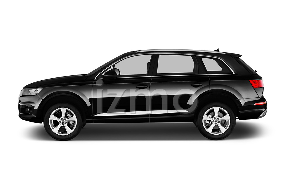 Car Driver side profile view of a 2017 Audi Q7-e-Tron Avus 5 Door SUV Side View