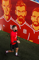 Joe Ledley walks out of the tunnel for Wales national team training ahead of the World Cup Qualification match against Republic of Ireland at Cardiff City Stadium, Cardiff, Wales on 8 October 2017. Photo by Mark  Hawkins.