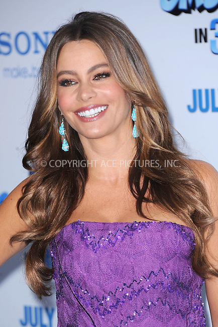 WWW.ACEPIXS.COM . . . . . .July 24, 2011...New York City....Sofia Vergara attends the premiere of 'The Smurfs' at the Ziegfeld Theater on July 24, 2011 in New York City....Please byline: KRISTIN CALLAHAN - ACEPIXS.COM.. . . . . . ..Ace Pictures, Inc: ..tel: (212) 243 8787 or (646) 769 0430..e-mail: info@acepixs.com..web: http://www.acepixs.com .