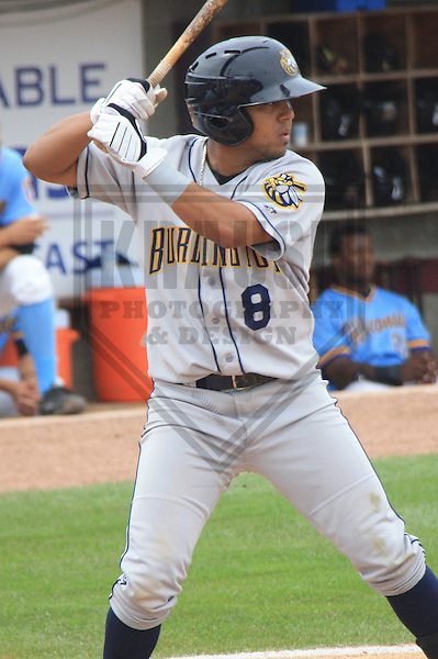 APPLETON - JULY 2010: J.D. Alfaro (8) of the Burlington Bees, Class-A affiliate of the Kansas City Royals, during a game on July 11, 2010 at Fox Cities Stadium in Appleton, Wisconsin. (Photo by Brad Krause)