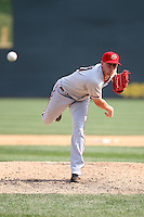 April 11, 2010:  Pitcher Drew Storen (21) of the Harrisburg Senators delivers a pitch during a game at Blair County Ballpark in Altoona, PA.  Harrisburg is the Double-A affiliate of the Washington Nationals.  Photo By Mike Janes/Four Seam Images