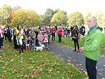 Jil's uncle Michael McKeown speaking at the end of the walk for Jill Meagher in Dominic's park. Photo:Colin Bell/pressphotos.ie