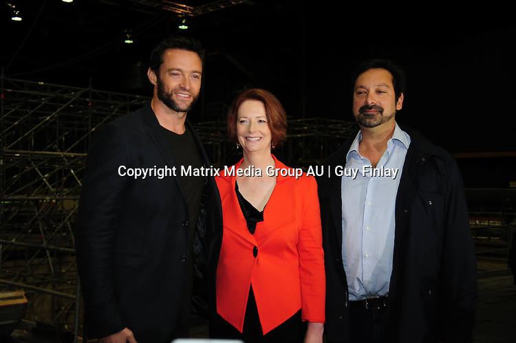 24 JULY 2012 NON EXCLUSIVE<br /> <br /> Press Conference<br /> <br /> Hugh Jackman and Australian Prime Minister Julia Gillard on the set of Wolverine at Fox Studios Sydney.