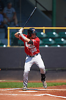 Great Lakes Loons third baseman Jimmy Allen (15) at bat during a game against the Clinton LumberKings on August 16, 2015 at Ashford University Field in Clinton, Iowa.  Great Lakes defeated Clinton 3-2 in ten innings.  (Mike Janes/Four Seam Images)
