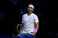 15th November 2019; 02 Arena. London, England; Nitto ATP Tennis Finals; A dejected Rafael Nadal (Spain) looks pensive as he loses set 1- Editorial Use