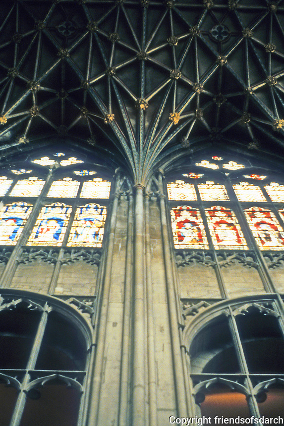 Gloucester: Gloucester Cathedral--Piers and vaulting, Choir 1331-1374. Perpendicular tracery, floor to vault. Photo '90.