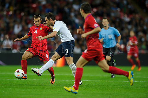 06.09.2013 London, England. England Midfielder Frank Lampard (Chelsea) with a shot during the second half of the 2014 FIFA World Cup Qualifier between England and Moldova at Wembley Stadium.