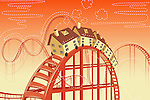 Illustrative image of houses on rollercoaster representing real estate ups and downs