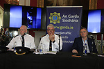 Superintendent Sean Farrell, Chief Superintendent Fergus Healy, Lord Henry Mountcharles at the Slane Castle Trafic Management Press Conference for Metallica concert at Slane Castle, Meath, Ireland. 30/05/2019.<br /> Picture Fran Caffrey / Newsfile.ie<br /> <br /> All photo usage must carry mandatory copyright credit (© Newsfile | Fran Caffrey)