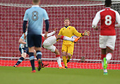 16/04/2018 Arsenal v Blackpool FAYC Semi 2L<br /> <br /> Craig Thordarson blocks Arsenal's Tyreece John-Jules