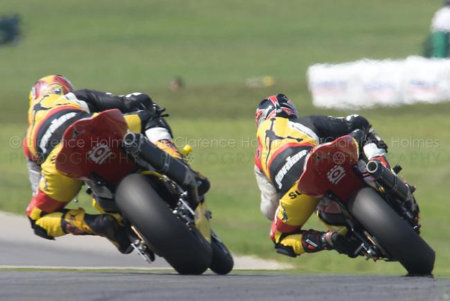 ALTON, VA - AUGUST 28: Jason Pridmore and Steve Rapp both of Jordan Motorsports during AMA Pro Superbike Race 2 at the Suzuki Big Kahuna Nationals, held at Virginia International Raceway, Alton, Virginia on August 28, 2005.