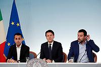 Luigi Di Maio, Giuseppe Conte, Matteo Salvini <br /> Roma 15/10/2018. Consiglio dei Ministri sulla Manovra Economica DEF.<br /> Rome October 15th 2018. Minister's Cabinet about the Economic and Financial Document.<br /> Foto Samantha Zucchi Insidefoto