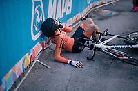 Manuel Michielsen (NED)<br /> <br /> post-race battlefield in the finish zone<br /> <br /> MEN JUNIOR INDIVIDUAL TIME TRIAL<br /> Hall-Wattens to Innsbruck: 27.8 km<br /> <br /> UCI 2018 Road World Championships<br /> Innsbruck - Tirol / Austria
