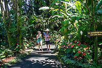 Tourists walk through the Anthurium Corner at Hawai'i Tropical Botanical Gardens, Onomea, Big Island of Hawaiʻi.