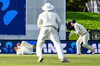 Ross Taylor catches out James Vince of England of the bowling of Trent Boult with BJ Watling of the Black Caps looking on  during Day 3 of the Second International Cricket Test match, New Zealand V England, Hagley Oval, Christchurch, New Zealand, 1st April 2018.Copyright photo: John Davidson / www.photosport.nz