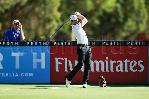 27.02.2016. Perth, Australia. ISPS HANDA Perth International Golf. Stuart Manley (WAL) drives the ball out of bounds from the third tee on day three.