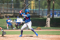 Los Angeles Dodgers outfielder Ismael Alcantara (73) at bat during an Instructional League game against the Oakland Athletics at Camelback Ranch on October 4, 2018 in Glendale, Arizona. (Zachary Lucy/Four Seam Images)