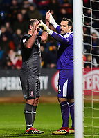 Lincoln City's Matt Rhead attempts to disturb Cambridge United's David Forde setting up his defensive wall<br /> <br /> Photographer Andrew Vaughan/CameraSport<br /> <br /> The EFL Sky Bet League Two - Cambridge United v Lincoln City - Saturday 29th December 2018  - Abbey Stadium - Cambridge<br /> <br /> World Copyright © 2018 CameraSport. All rights reserved. 43 Linden Ave. Countesthorpe. Leicester. England. LE8 5PG - Tel: +44 (0) 116 277 4147 - admin@camerasport.com - www.camerasport.com