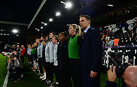 Phil Neville, manager of England Women stands for the national anthem during the Women's International friendly match between England Women and Australia at Ashton Gate, Bristol, England on 9 October 2018. Photo by Bradley Collyer / PRiME Media Images.