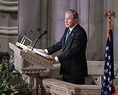 Former United States President George W. Bush delivers the eulogy at the National funeral service in honor of the late former United States President George H.W. Bush at the Washington National Cathedral in Washington, DC on Wednesday, December 5, 2018.<br /> Credit: Ron Sachs / CNP<br /> (RESTRICTION: NO New York or New Jersey Newspapers or newspapers within a 75 mile radius of New York City)