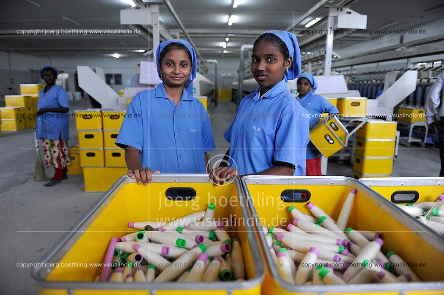 INDIA Tirupur , fair trade textile units , MLR Spinning factory/ INDIEN Tamil Nadu, Tirupur,  fairtrade Textilbetriebe , Spinnerei MLR produziert Garne fuer Assisi Garments