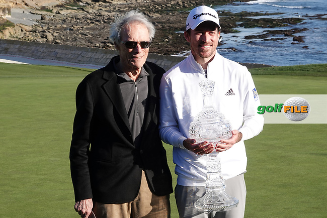Nick Taylor (CAN) and Clint Eastwood during prize giving after the final round of the AT&T Pro-Am, Pebble Beach, Monterey, California, USA. 08/02/2020<br /> Picture: Golffile | Phil Inglis<br /> <br /> <br /> All photo usage must carry mandatory copyright credit (© Golffile | Phil Inglis)