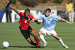 14 November 2010: Maryland's Ethan White (4) and UNC's Enzo Martinez (16). The University of Maryland Terrapins defeated the University of North Carolina Tar Heels 1-0 at WakeMed Soccer Park in Cary, North Carolina in the ACC Men's Soccer Tournament Championship game.