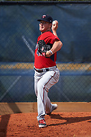 GCL Twins pitcher Landon Leach (46) throws in the bullpen before the first game of a doubleheader against the GCL Rays on July 18, 2017 at Charlotte Sports Park in Port Charlotte, Florida.  GCL Twins defeated the GCL Rays 11-5 in a continuation of a game that was suspended on July 17th at CenturyLink Sports Complex in Fort Myers, Florida due to inclement weather.  (Mike Janes/Four Seam Images)