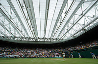 A general view of Centre Court with the roof closed on Day 8<br /> <br /> Photographer Ashley Western/CameraSport<br /> <br /> Wimbledon Lawn Tennis Championships - Day 8 - Tuesday 11th July 2017 -  All England Lawn Tennis and Croquet Club - Wimbledon - London - England<br /> <br /> World Copyright &not;&copy; 2017 CameraSport. All rights reserved. 43 Linden Ave. Countesthorpe. Leicester. England. LE8 5PG - Tel: +44 (0) 116 277 4147 - admin@camerasport.com - www.camerasport.com