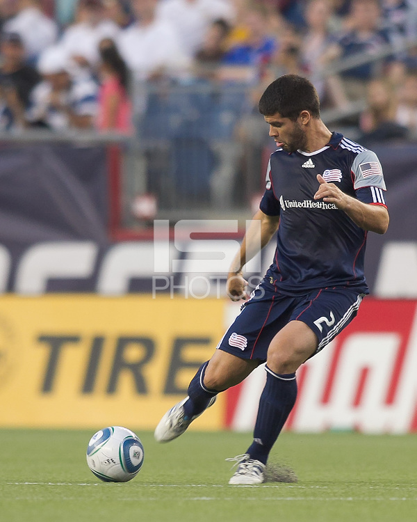 New England Revolution defender Franco Coria (2) passes the ball. In a Major League Soccer (MLS) match, the New England Revolution tied the Chicago Fire, 1-1, at Gillette Stadium on June 18, 2011.