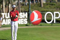 Haotong Li (CHN) prepares to play his 2nd shot on the 18th hole during Thursday's Round 1 of the 2018 Turkish Airlines Open hosted by Regnum Carya Golf &amp; Spa Resort, Antalya, Turkey. 1st November 2018.<br /> Picture: Eoin Clarke | Golffile<br /> <br /> <br /> All photos usage must carry mandatory copyright credit (&copy; Golffile | Eoin Clarke)