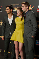 Taylor Lautner, Kristen Stewart and Robert Pattison during the premiere of The Twilight Saga: Breaking Dawn. November 15, 2012. (ALTERPHOTOS/Alvaro Hernández) /NortePhoto