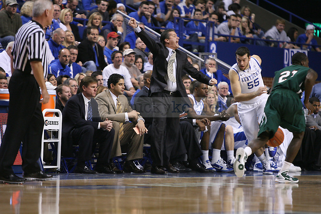 Head Coach John Calipari instructs his team to move down the floor in against Mississippi Valley State at Rupp Arena on Saturday, Dec. 18, 2010. Photo by Scott Hannigan | Staff
