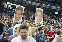 Fans and supporters of United States Senator Jeff Flake (Republican of Arizona) hold up photos of him during the 56th Annual Congressional Baseball Game for Charity where the Democrats play the Republicans in a friendly game of baseball at Nationals Park in Washington, DC on Thursday, June 15, 2017. Photo Credit: Ron Sachs/CNP/AdMedia