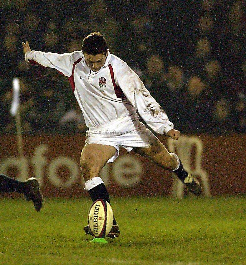 Picture: Henry Browne.Date: 14/02/2003.England U21 v France U21 Six Nations.Andrew Frost of England converts a penalty
