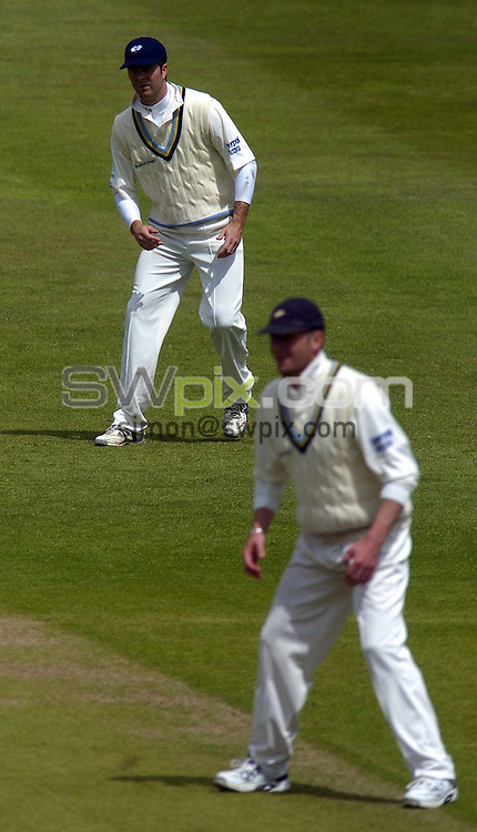 PICTURE BY VAUGHN RIDLEY/SWPIX.COM -  Cricket - Liverpool Victoria County Championship, Day Two - Yorkshire v Hampshire - Headingley, Leeds, England - 01/06/06...? Simon Wilkinson - 07811 267706...Yorkshire Captain Craig White and England Captain Michael Vaughan on his return from injury.