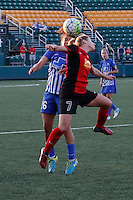 Rochester, NY - Friday June 24, 2016: Boston Breakers midfielder Angela Salem (26), Western New York Flash midfielder McCall Zerboni (7) during a regular season National Women's Soccer League (NWSL) match between the Western New York Flash and the Boston Breakers at Rochester Rhinos Stadium.