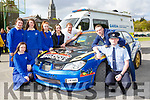 St Brendans College students at the Road Safety Promoation held by The Road Safety Authority ans Killarney Motor and District club held in St Brendans College on Tuesday morning  with  Garda Joe O'Sullivan, Alan Buckley Club Safety Officer and Anthony O'Connor Clerk of the Course were l-r: Orla Tangnry, Leah O'Brien, Sonia Smith, Dayna Courtney and Orla Lehane