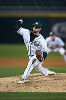 Charlotte 49ers relief pitcher Philip Perry (34) in action against the North Carolina Tar Heels at BB&T BallPark on March 27, 2018 in Charlotte, North Carolina. The Tar Heels defeated the 49ers 14-2. (Brian Westerholt/Four Seam Images)