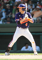 Infielder John Hinson (4) of the Clemson Tigers in a game against the Michigan State Spartans on Sunday, Feb. 27, 2011, at Fluor Field in Greenville, S.C. Photo by Tom Priddy/Four Seam Images