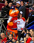 25 January 2009: Eastern Conference All-Star Mascot Youppi, from the Montreal Canadiens, poses with a fan during the 2009 NHL All-Star Game at the Bell Centre in Montreal, Quebec, Canada. The Eastern Conference defeated the Western Conference 12-11 in a shootout. ***** Editorial Sales Only ***** Mandatory Photo Credit: Ed Wolfstein Photo