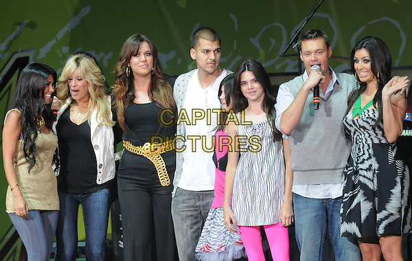 THE KARDASHIANS & RYAN SEACREST .Live at The KIIS Fm Wango Tango 2008 held at The Verizon Wireless Ampitheatre in Irvine, California, USA, May 10th 2008..music concert gig on stage half length family brothers sisters host presenter .CAP/EAS.©Eastman/Capital Pictures