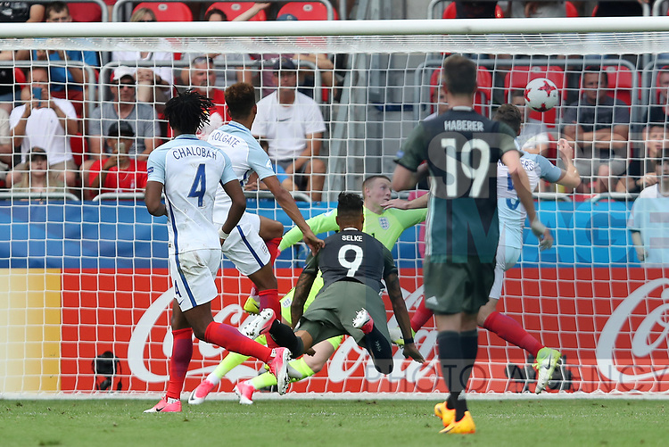 Germany's Davie Selke scoring his sides opening goal during the UEFA Under 21 Semi Final at the Stadion Miejski Tychy in Tychy. Picture date 27th June 2017. Picture credit should read: David Klein/Sportimage