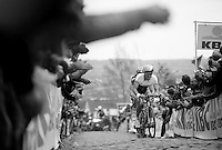 Daryl Impey (ZAF/Orica-GreenEDGE) up the cobbles of the Oude Kwaremont having to have let the breakaway group go earlier on the climb (with Stig Broeckx (BEL/Lotto-Belisol) behind him)<br /> <br /> Ronde van Vlaanderen 2014